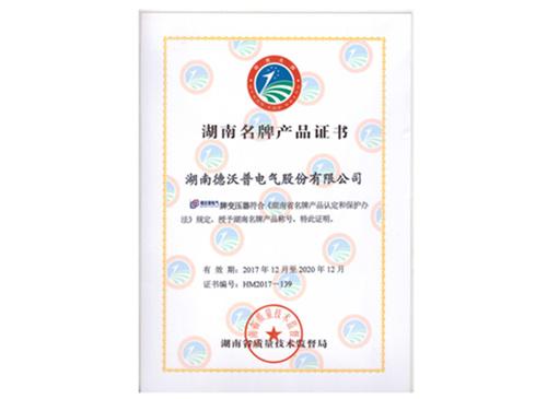 德沃普股份有限公司获湖南名牌产品证书